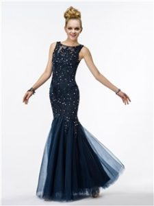 Fantastic Mermaid Straps Appliques Beading Sequins Floor-Length Evening Dress