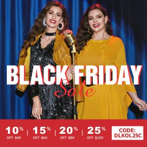 Black Friday & Cyber Monday Sales by Dresslily - shop with an extra 25% off code: DLKOL25C